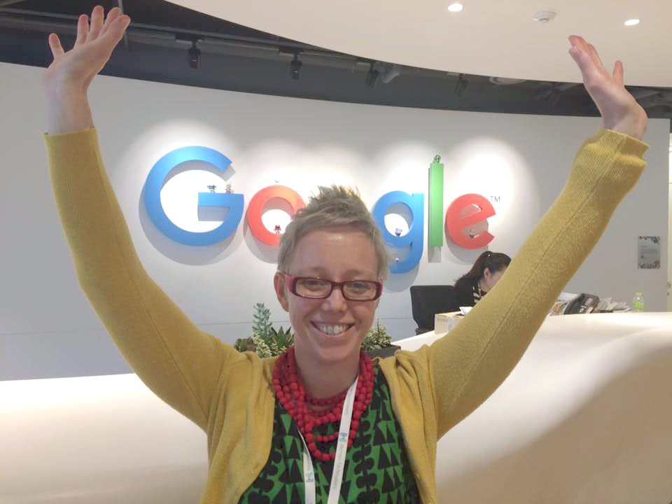 Brig at Google HQ South Korea in front of the Google Front Desk Sign